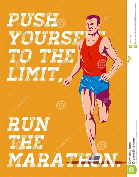 printable birthday cards for runners marathon push to the limit poster stock photos image