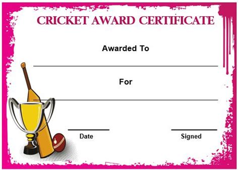 22 well designed cricket certificate templates free word