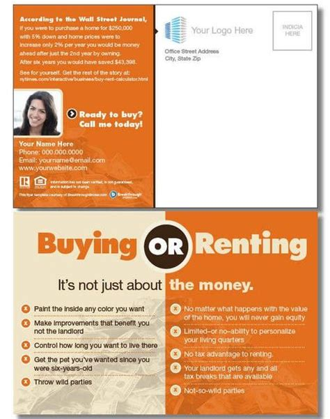 quot buy vs rent quot postcard examples flyers postcards etc