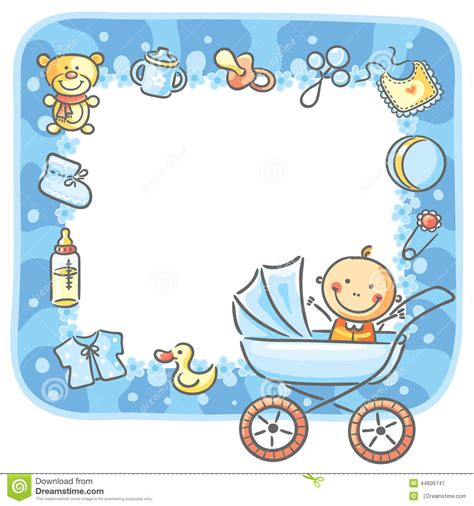 design foto baby frame with baby boy things stock vector illustration of