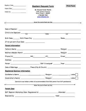 baptismal certificate request letter fillable svfparish baptism request form st