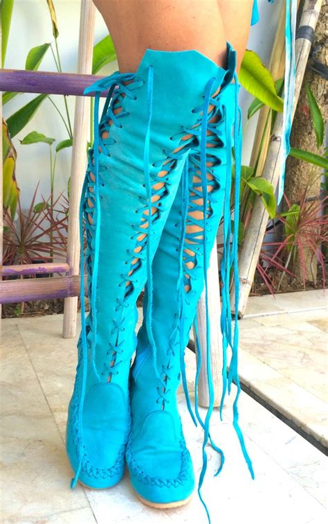 leather boots turquoise suede knee high leather boots