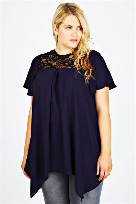 swing tops with sleeves purple short sleeve swing top with black lace yoke plus