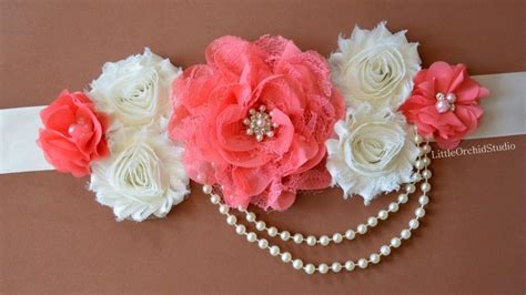 Baby Shower Band by Coral Elegance Maternity Sash Pregnancy Photo Prop Baby