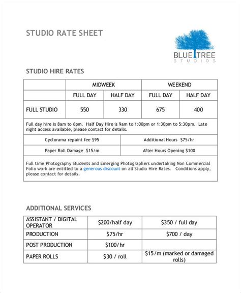 Rate Sheet Template 10 Free Sle Exle Format Free Premium Templates Production Rate Sheet Template