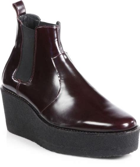 hardy leather platform wedge ankle boots in