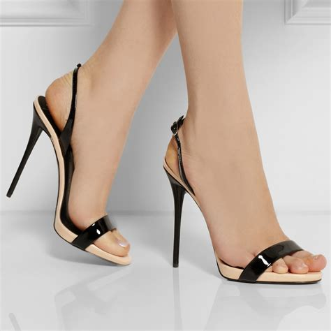 black open toe bottom thin high heel shoes
