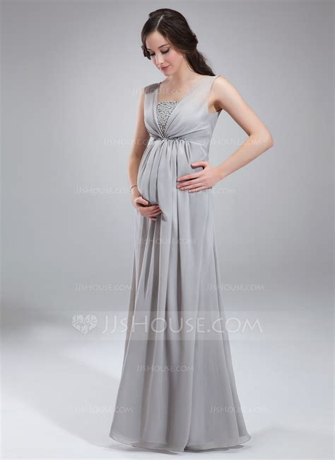 Maternity Bridesmaid Dress by Empire Square Neckline Floor Length Chiffon Maternity
