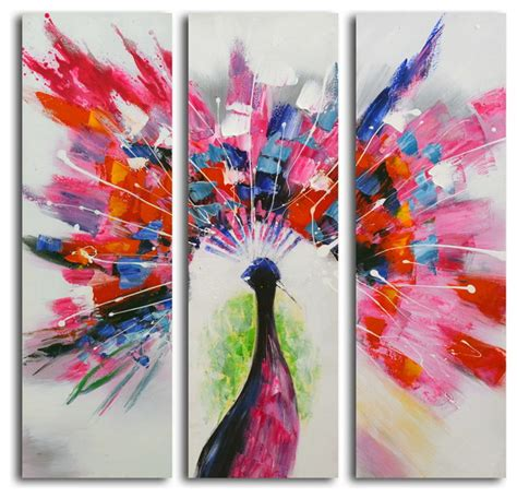 prismatic peacock hand painted 3 piece canvas set modern