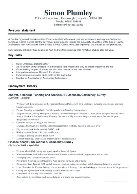 Cv Template Reed Simon Plumley Cv 2015