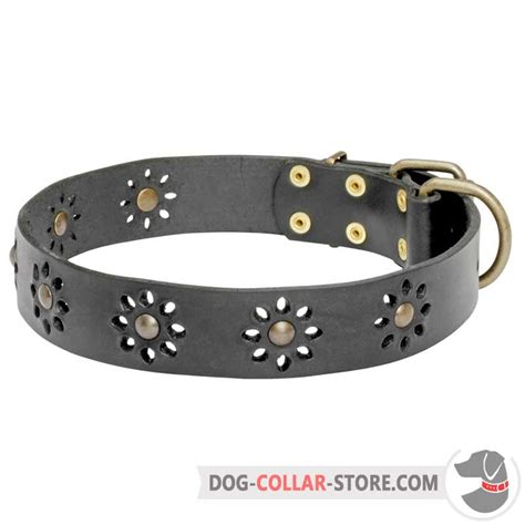 comfortable dog collar comfortable leather dog collar with flowers