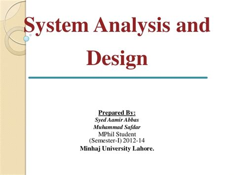 design notes definition system analysis and design
