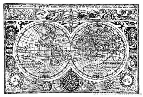 vector illustration antique world map royalty  stock