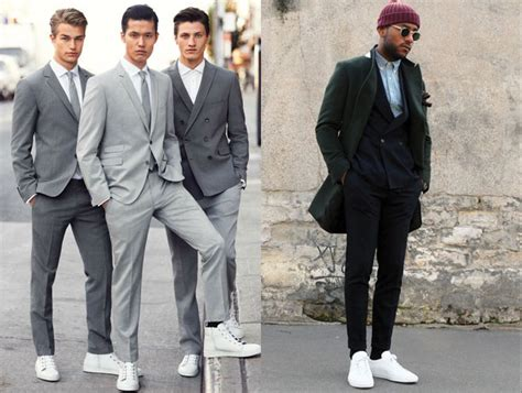 how to dress up white sneakers with menswear