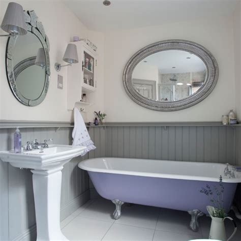 Lilac and grey panelled bathroom bathroom housetohome co uk