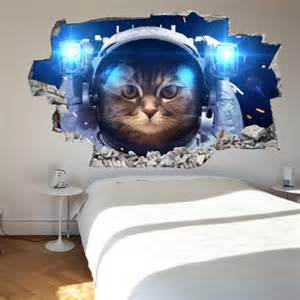 Hollywood Wall Mural 3d vinyl wall sticker space cat