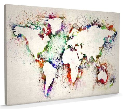 map   world map abstract painting canvas art