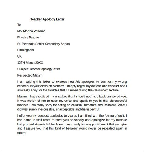 Apology Letter Format To Professor Sle Apology Letter To 7 Free Documents In Pdf Word
