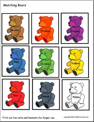 pattern memory primary games cards color bears abcteach
