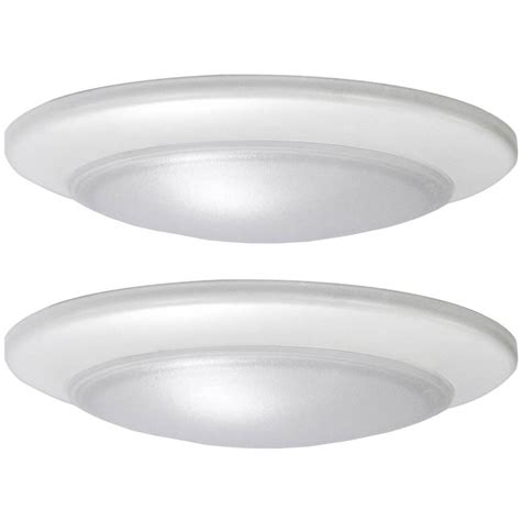 Ceiling Lighting Fixtures Flush Mount Shop Project Source 2 Pack 7 4 In W White Led Flush Mount Light At Lowes