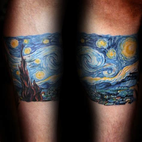 starry night tattoo 40 starry designs for painting ink ideas
