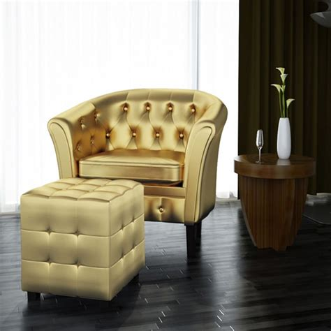 chair with footrest leather artificial leather tub chair armchair with footrest gold