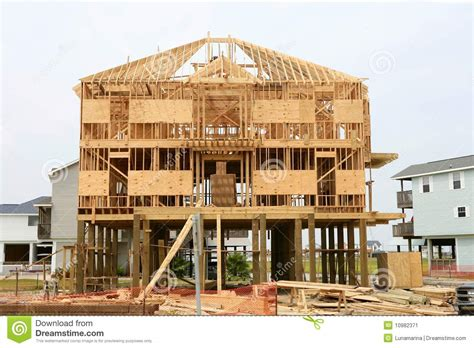 House Structure Wood House Contruction American Wooden Structure Stock