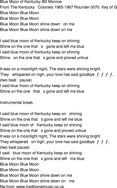 blue song time oldtimey song lyrics blue moon of kentucky