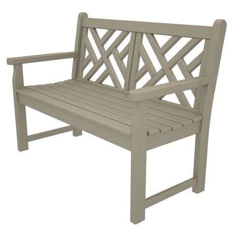 sand bench polywood chippendale 48 in sand patio bench cdb48sa the
