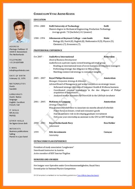 Resume Example Pdf Free Download by 7 Curriculum Vitae Format 2017 Teller Resume