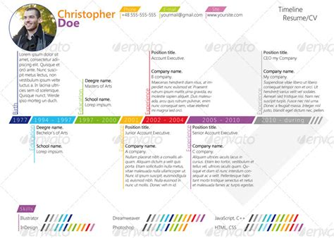 Resume Timeline by Colorfull Timeline Resume Cv By Asambler Graphicriver