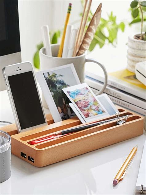 wood charging station organizer wooden charging station with two usb ports and integrated