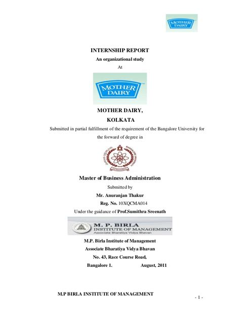 Internship Report Format For Mba Hrm by Internship Report