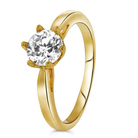 goldplated ring solitair zirkonia lucardi nl