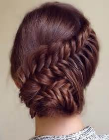 Lovely prom updo hairstyle 2015 with fishtail braid and bun