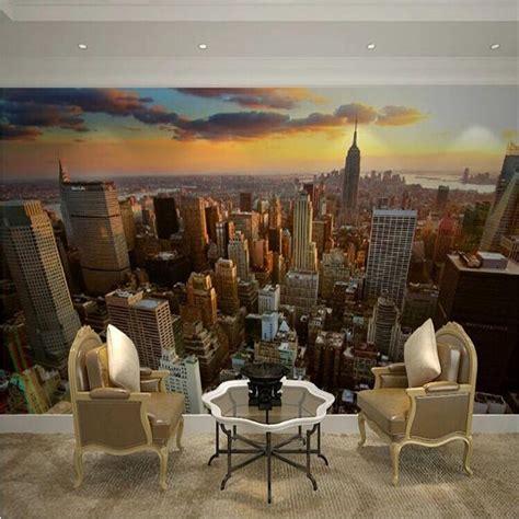 custom 3d mural wallpaper city evening landscape