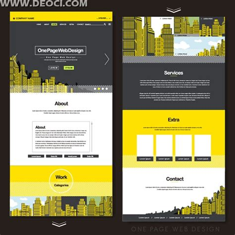free website templates for yellow pages yellow and black abstract urban single page website design