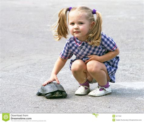 tiny small a girl with the turtle stock photo image of nature small