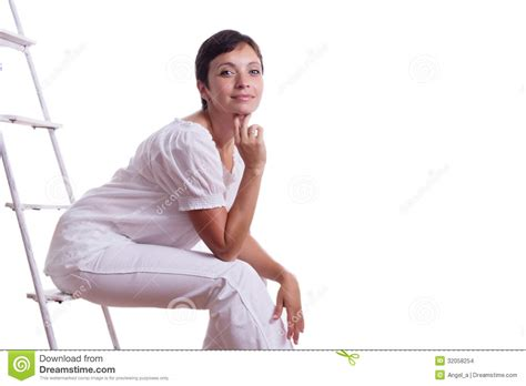 Sitting On by Happy Sitting On Step Ladder Stock Images Image