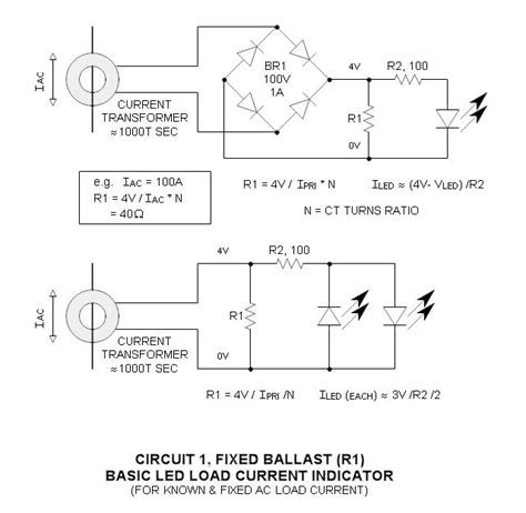 transformer resistor circuit current transformer ac load indicator led