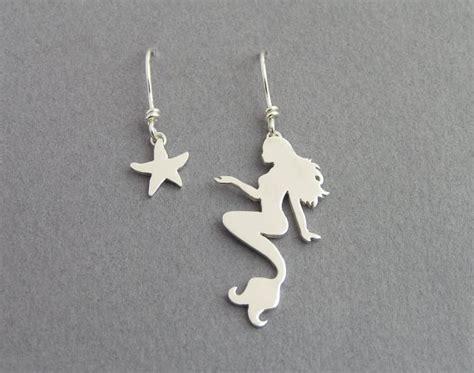 Mermaid Earring mermaid and starfish dangle earrings mismatched earrings