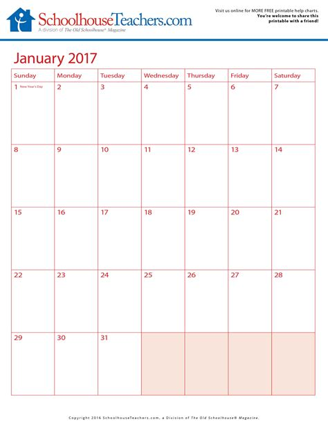 printable calendar resources 2u free printable calendars 2016 2017 schoolhouse teachers