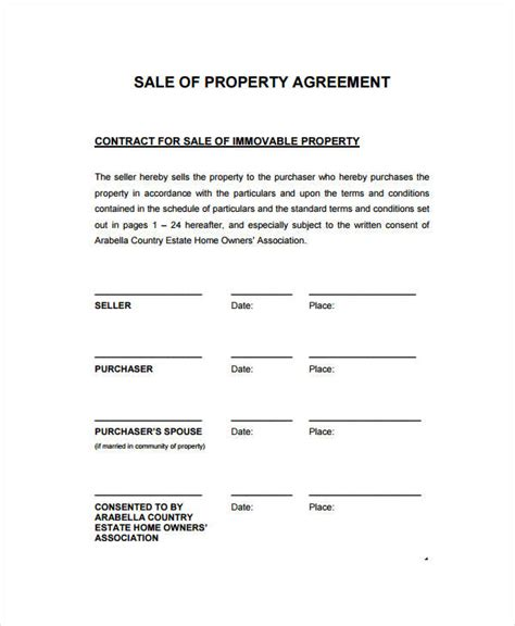property sales agreement template sales contract template 9 free pdf documents doownload