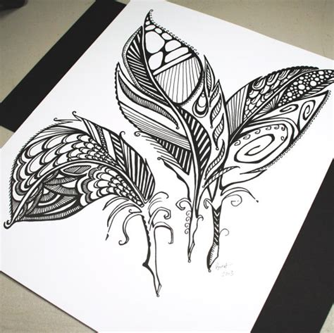 tattoo pen to draw three feathers original pen drawing abstract feathers