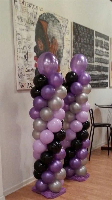 purple light purple silver  black balloon columns