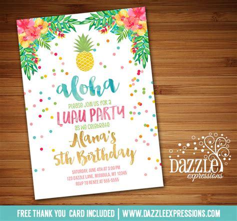 Hawaiian Theme Wedding Invitation To Email by Printable Watercolor Pineapple Luau Birthday Invitation