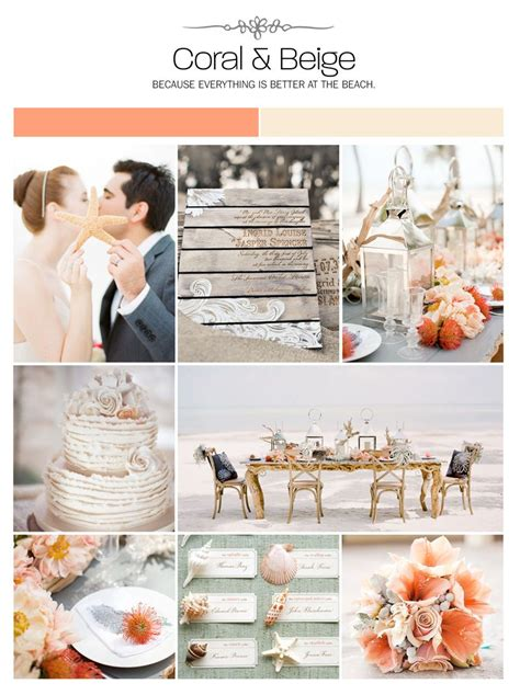 coral and beige inspiration board color palette mood board wedding ideas color