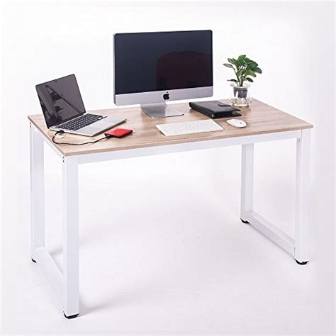 Modern Simple Desk Merax Modern Simple Design Computer Desk Table Workstation For Home Office White And Oak