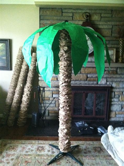 rolled paper palm trees diy palm tree not this big but i an idea wrapping paper roll paper bags big
