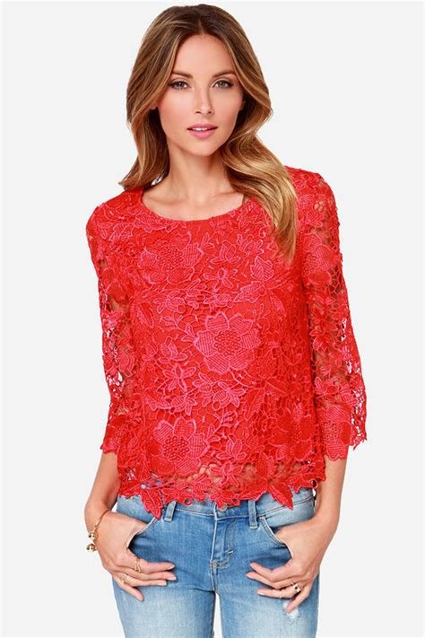 pretty red top long sleeve top lace top